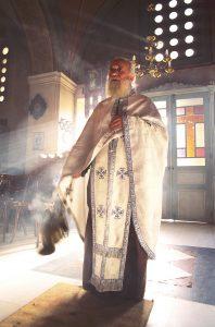 Popes inside Orthodoxe church.Santorini island.Thira Island.Greek Islands.Greek.Orthodox art