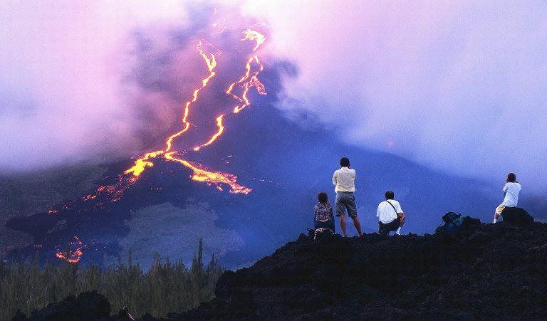 Eruption of Piton de Fournaise Volcano.Reunion Island.France