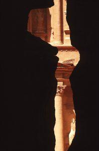 The Khasneh,the Treasury temple, from the Siq canyon.Petra.Jordan.Nabatean art